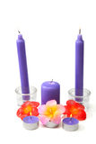 Violet candles Stock Photo