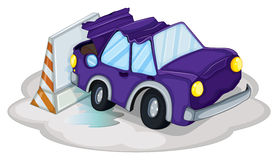 A violet car bumping the traffic cone Royalty Free Stock Photos