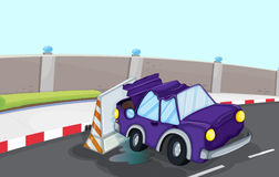 A violet car bumping the traffic cone at the road Stock Image