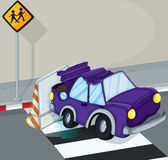 A violet car having an accident at the road Stock Photography