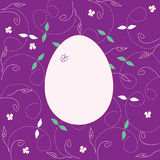 Violet card with easter egg Stock Photography