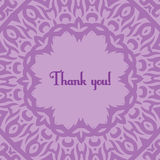 Violet card. Greeting card template with thank you text and violet pattern Royalty Free Stock Images