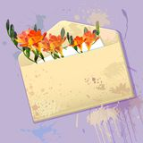 Violet card with grunge envelope and flowers Royalty Free Stock Photo