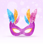 Violet carnival flat mask with multicolored feathers on violet Stock Image