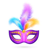 Violet carnival mask with feathers Royalty Free Stock Photos
