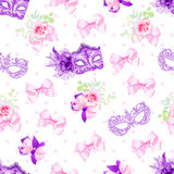 Violet carnival masks, small floral bouquets with bows seamless Stock Photo