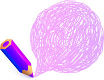 Violet cartoon pencil with doodle speech bubble Royalty Free Stock Photography