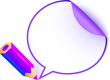 Violet cartoon pencil with paper speech bubble Royalty Free Stock Image