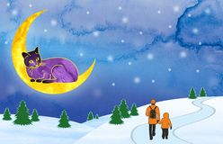 Violet cat sprawled on a crescent over the snow-covered fields and looks down at the passing father and son. Set of illustrations vector illustration