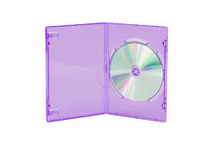 Violet CD / DVD case on isolated white background stock photos