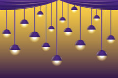 Violet ceiling lamps Royalty Free Stock Photography