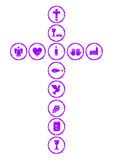 Violet Christian cross Royalty Free Stock Images