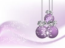 Violet christmas. Background with balls Stock Photo