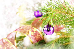 Violet christmas ball Royalty Free Stock Images