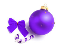 Violet christmas ball with bow Stock Photos