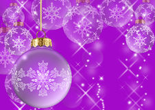 Violet christmas balls Stock Images