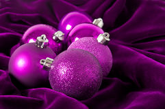 Violet Christmas balls Stock Photos