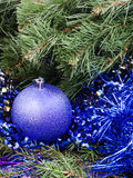 Violet Christmas bauble, tinsel, Xmas tree 4 Royalty Free Stock Photo