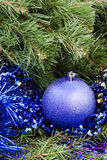 Violet Christmas bauble, tinsel, Xmas tree 3 Stock Images