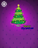 A violet christmas card with a christmas tree Stock Photo