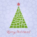 Violet Christmas card with Christmas tree on seamless pattern with snowflakes Royalty Free Stock Photos