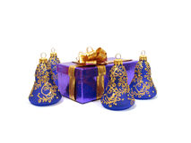 Violet Christmas decoration and congratulatory box on white stock image