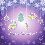 Violet christmas greeting card. With snowflakes and a fir tree Stock Image