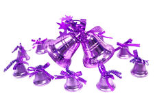 Violet Christmas handbells Royalty Free Stock Photos
