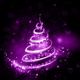 Violet Christmas tree on night holiday background with burning Royalty Free Stock Image