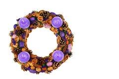 Violet christmas wreath Fotos de archivo