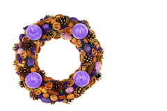 Violet christmas wreath Stock Photos