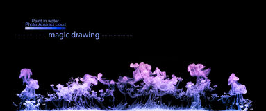 Violet clouds of paint in water. Abstract figure Stock Photography