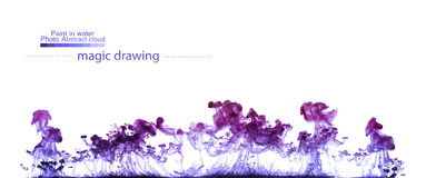 Violet clouds of paint in water. Abstract figure Stock Images