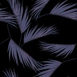 Violet coconut palm leaves by hand drawing and sketch with line-art seamless pattern. On black  backgrounds stock illustration