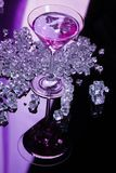 Violet coctail with ice cubes Royalty Free Stock Photography