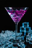 Violet coctail with ice  cubes Royalty Free Stock Photos