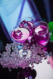 Violet coctail with ice  cubes Stock Photo
