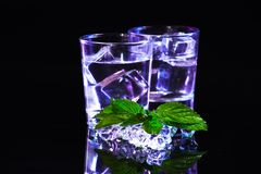 Violet coctail with ice  cubes Royalty Free Stock Image