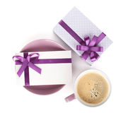 Violet coffee cup, gift box and love letter Stock Photo