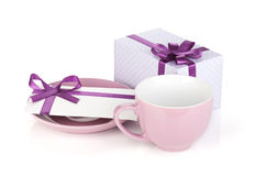 Violet coffee cup, gift box and love letter Royalty Free Stock Photography