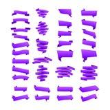 Violet Collection degli origami di sconto di vendita ha disegnato i nastri del sito Web, angoli, identifica, riccioli e linguette Fotografia Stock Libera da Diritti