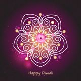 Violet color background design for Diwali festival with rangoli Royalty Free Stock Photography
