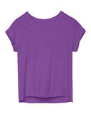 Violet color empty women tee shirt with torn edges isolated Stock Image