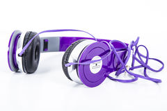Violet color Headphone. In studio light Stock Photos