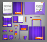 Violet corporate Identity. Set with orange element. Stock Photos