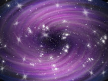 Violet cosmic whirl background with stars royalty free stock photography