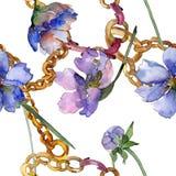 Violet cosmos flower floral botanical flower. Watercolor background illustration set. Seamless background pattern. Violet cosmos flower floral botanical flower vector illustration