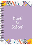 A5 violet cover design school notebook with text and stationery. Cover design with education stationery and text Back to school for tutorial cover, notebook Stock Photos