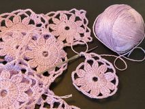 Violet crochet Stock Image