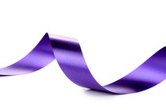 Violet curly silk ribbon. Stock Photography